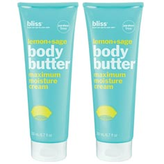 bliss lemon+sage body butter set of 2