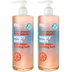 bliss blood orange+white pepper soapy suds set of 2