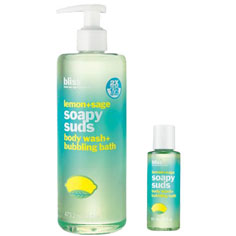 bliss lemon + sage soapy suds mega+mini set