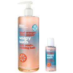 bliss blood orange + white pepper soapy suds mega+mini set