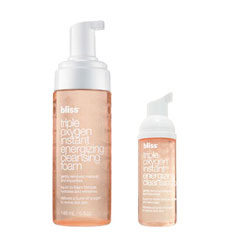 bliss triple oxygen instant energizing cleansing foam mega+mini set