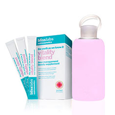 blisslabs™ nutricosmetics the youth as we know it vitality blend + bkr bottle (cupcake) bundle