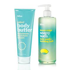 bliss lemon+sage soapy suds + naked body butter bundle