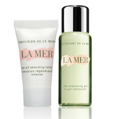 la mer cleansing gel + oil absorbing lotion