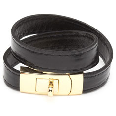 cc skye double wrap portico bracelet (black + gold)