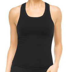 spanx active ribbed racerback top (black)