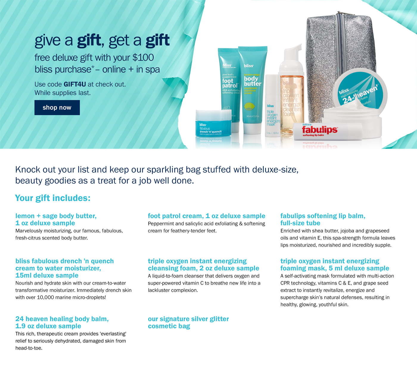 Receive a free 8-piece bonus gift with your $100 Bliss purchase