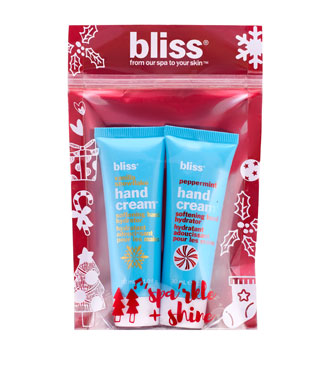 bliss hand'y land vanilla-snowflake and peppermint hand cream set