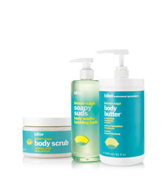 bliss 'zest' to thrill lemon + sage scrub, soapy suds + body butter set