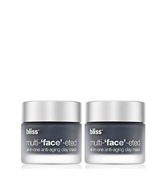 bliss multi-'face'-eted all-in-one anti-aging clay mask set of 2