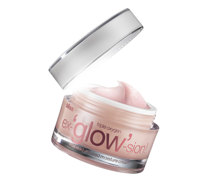 bliss triple oxygen ex-'glow'-sion vitabead-infused moisture cream