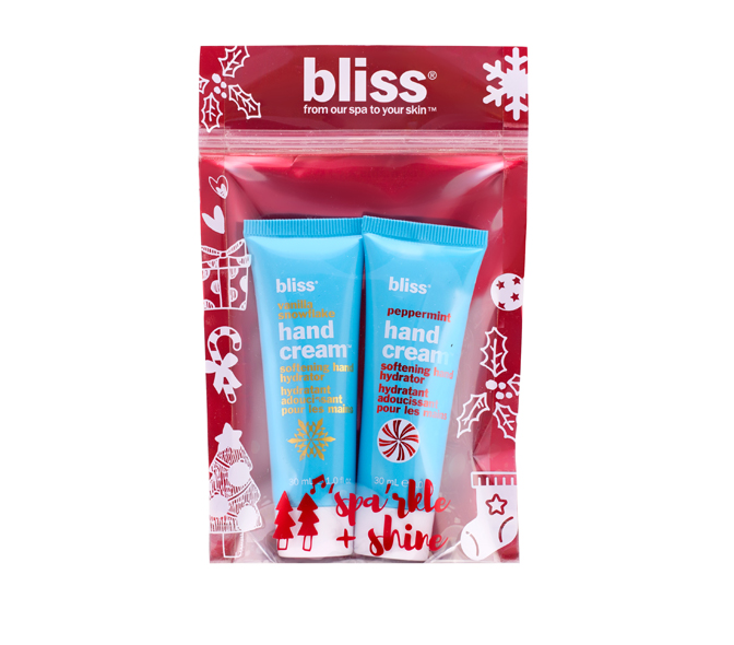 bliss hand'y land:vanilla snowflake & peppermint hand cream set