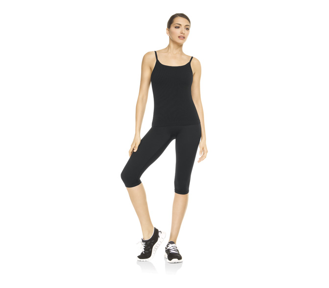 spanx active ribbed cami top black size sm