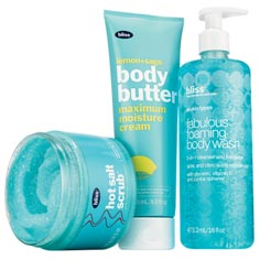 bliss wash buff n' butter bundle: hot salt scrub, lemon+sage body butter, and fabulous foaming body wash.