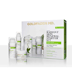 goldfaden md radiant renewal starter kit: doctor's scrub, pure start & vital boost