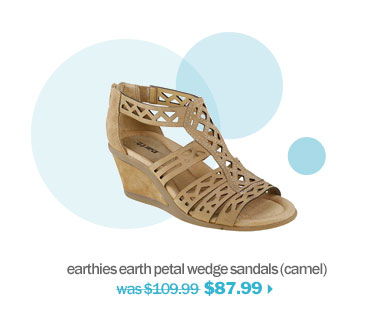 shop earthies earth petal wedge sandals (camel)